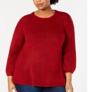 Style & Co Plus Size Tunic Sweater, Red Size 2X
